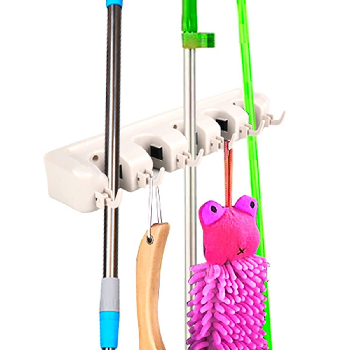 costway mop holder hanger 5 position home kitchen storage broom organizer wall mounted - Broom Holder