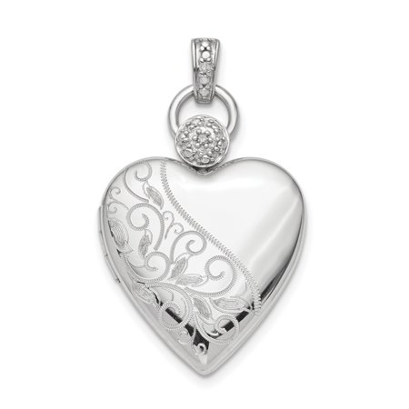 925 Sterling Silver Plate 21mm Heart Diamond Accent Photo Pendant Charm Locket Chain Necklace That Holds Pictures Gifts For Women For Her
