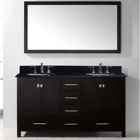 Virtu Usa Caroline Avenue 60 Inch Double Black Granite Bathroom Vanity Set