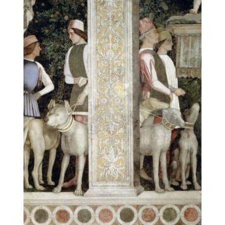 Camera degli Sposi Grooms with Dogs (detail) by Andrea Mantegna fresco 1474 (1431-1506) Italy Mantua Palazzo Ducale Canvas Art - Andrea Mantegna (18 x 24)