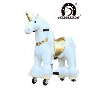 Medallion Ride On Toy Horse GOLDEN UNICORN - Small Size