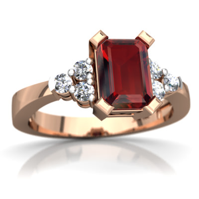 Garnet Simply Elegant Ring in 14K Rose Gold by