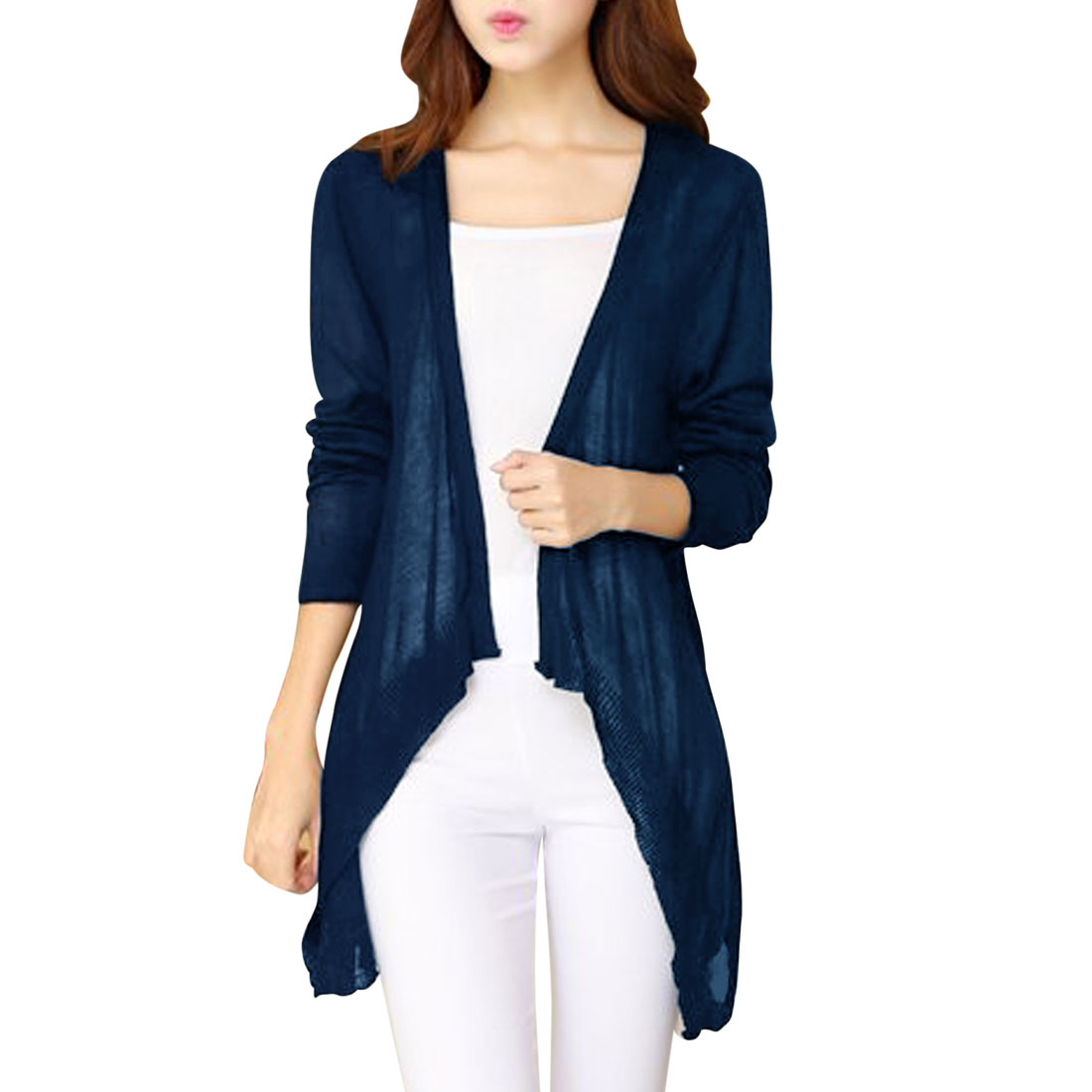Woman Long Sleeves Opening Front Navy Blue Light Knit Cardigan XS