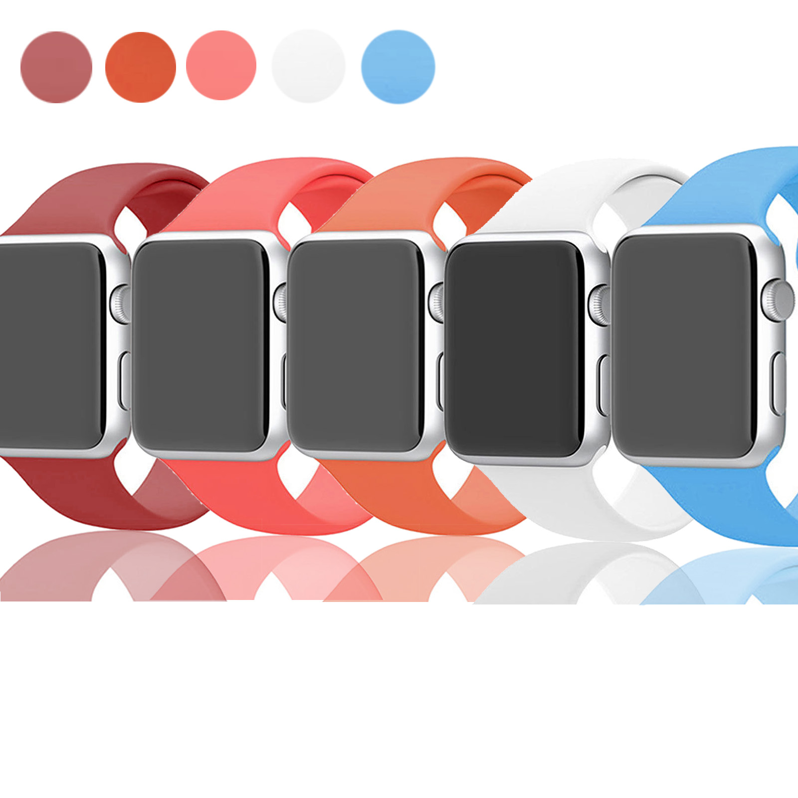 EEEKit 5PCS Soft Silicone Replacement Wrist Watch Band Strap for Apple Watch Sports & Edition 38mm Series 1 2