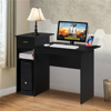 Small Computer Desk Home Office Desk Laptop Table w/Drawer for Small Space Black