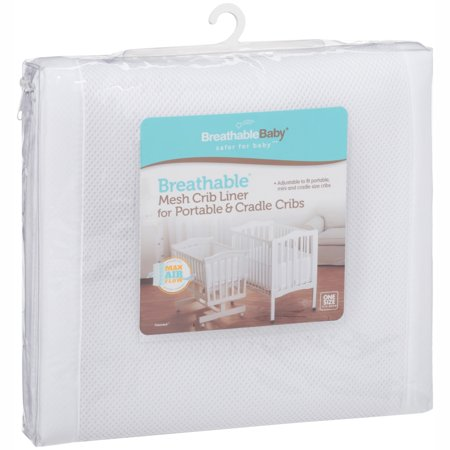 BreathableBaby - Breathable Crib Liner for Portable & Cradle Cribs, White (Princess Crib Bumper)