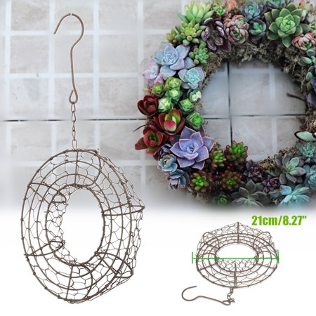 Heart /Ring Shape Succulent Hanging Frame Succulent Plant Holder Wreath Frame Metal Planter Holder Iron Wire Circle Hanging Flower Pot Home Garden Patio Decoration