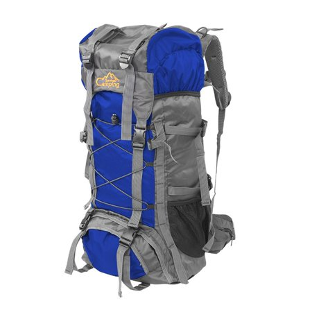 Campingsurvivals 60L Hiking Travel Backpack, Extra Large Waterproof Camping Rucksack, Outdoor Sport Daypack Mountaineering FishingBag, for Man Woman, Blue (Male Hiking Bag)