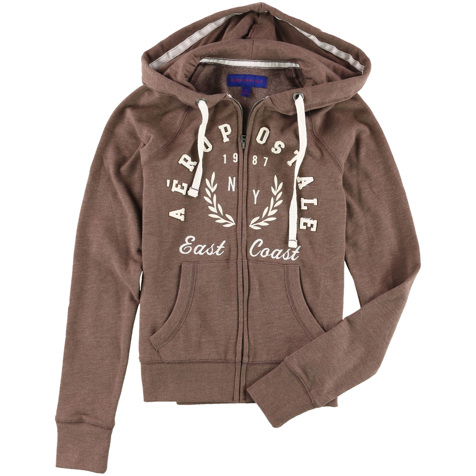 p.s.09 from aeropostale Aeropostale Womens Full Zip Hoodie Sweatshirt, Brown, X Small