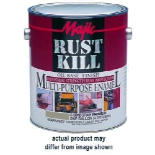 Majic Paints 8-6013-1 Rust Kill Multi-Purpose Enamel, Matte Black - Gallon