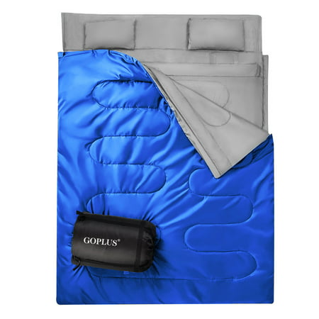 Goplus  Double 2 Person Sleeping Bag Waterproof w/ 2 Pillows Camping Queen Size XL](Sleeping Bag Pillow)
