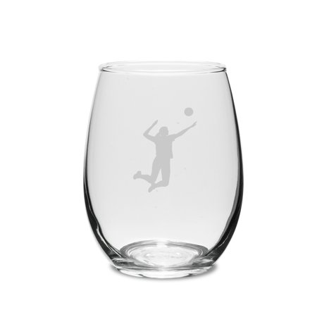 Volleyball Player Swing 15 oz. Deep Etched Stemless Wine (527 Glasses)