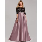 Ever-Pretty Womens Floral Lace Half Sleeve Long Formal Prom Dance Dresses for Women 07866 Mauve US4
