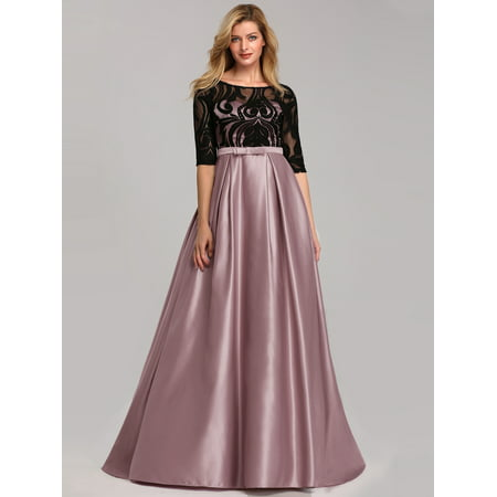 Ever-Pretty Womens Floral Lace Half Sleeve Long Formal Prom Dance Dresses for Women 07866 Mauve US4 Long Sleeve Lace Dress