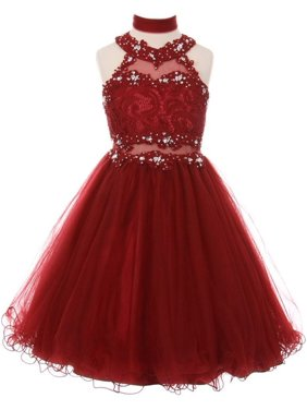 5826d9599a7 Product Image Girls Burgundy Rhinestone Halter Neck Lace Junior Bridesmaid  Dress