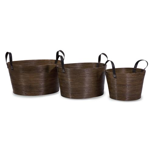 Set of 3 Open-Style Tightly Woven Rattan Storage Baskets