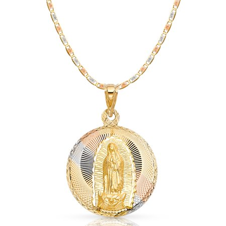 14K Tri Color Gold Diamond Cut Our Lady of Guadalupe Stamp Charm Pendant with 3.3mm Valentino Star Diamond Cut Chain Necklace - 24