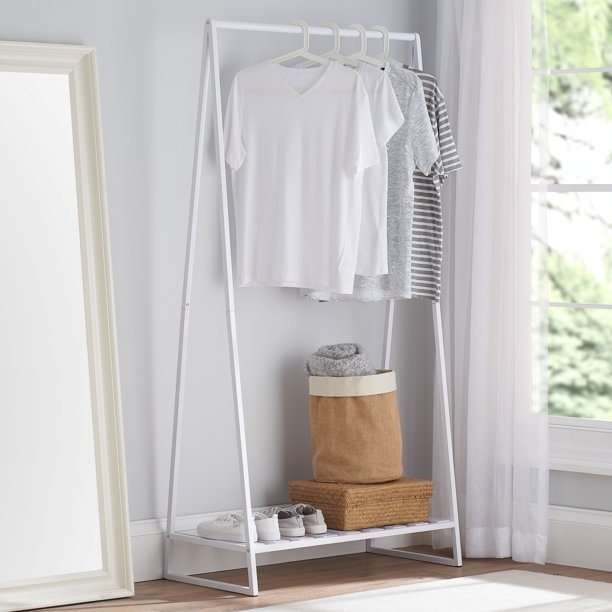 Mainstays Modern Farmhouse A-frame Garment Rack White 67.7 in H x 35.63 in W x 16.93 in D