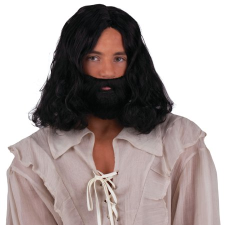 Funny Mens Wigs (Ancient Holy Man Wig and Beard Costume Accessory Kit, Black,)
