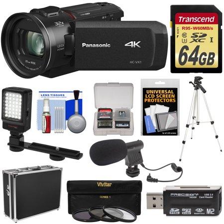 - Panasonic HC-VX1 Wi-Fi 4K Ultra HD Video Camera Camcorder with 64GB Card + Hard Case + 3 UV/CPL/ND8 Filters + Tripod + LED Light + Microphone + Kit
