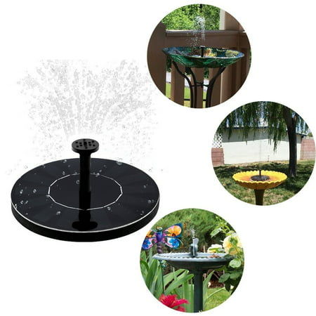 Peralng Mini Solar Powered Floating Fountain Pool Water Pump Garden Plants Water With 3 Different Spray Heads for Bird Bath ()