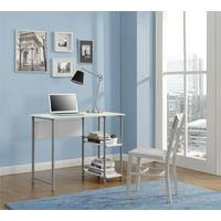 Mainstays Basic Metal Student Computer Desk, Silver with White