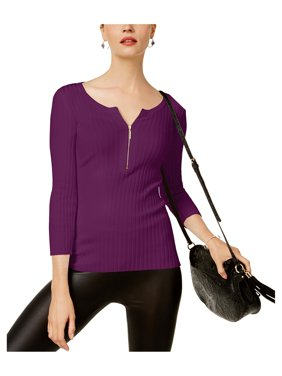 d628b0a5219f1 Product Image I-N-C Womens Zip Front Knit Sweater
