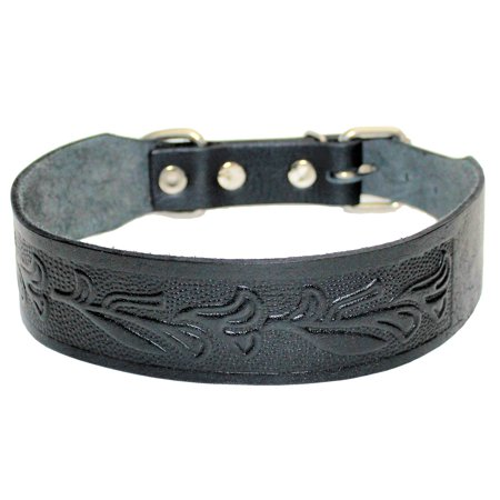 """2"""" Width STRONG Dog Collar Genuine Real LEATHER for LARGE Pet BLACK"""