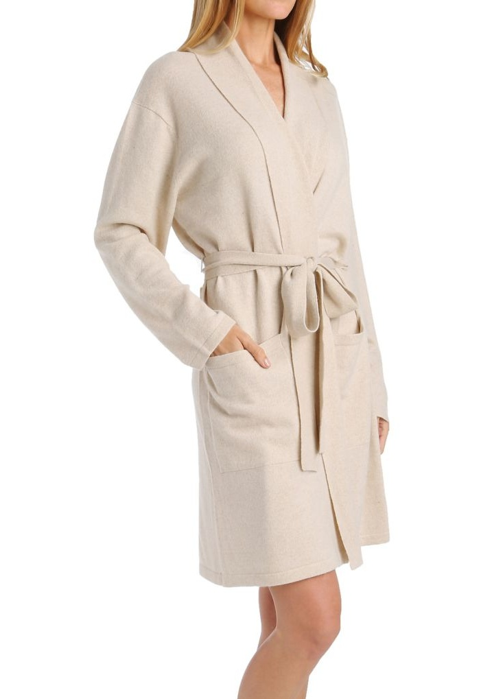 Women's Arlotta 2012 Cashmere Classic Short Robe With Shawl Collar