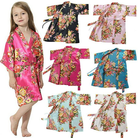 New Silk Satin Flower Girls Dress Children Kimono Robe Kids Nightwear Gown