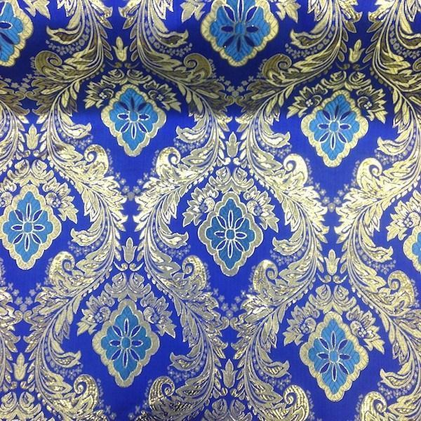 "Metallic Floral Brocade Fabric 60"" By Yard in Red Gold White Purple Blue Green (White / Silver)"