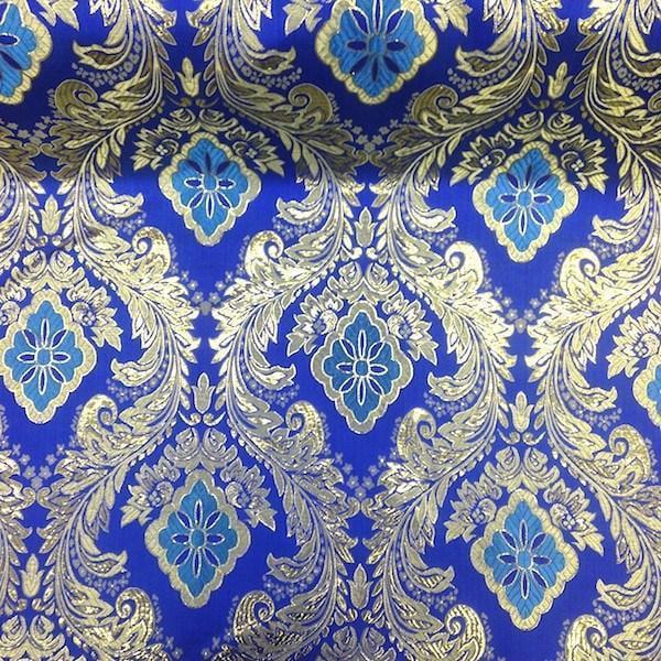 40/% SALE Indian brocade Fabric Black and Purplish blue fabric Brocade fabric by the yardMeter NFAF369 Dress fabric Floral Design