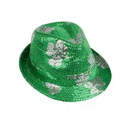 Saint Patrick's Day Green Sequin Shamrock Fedora Hat Costume - Sequin Fedora