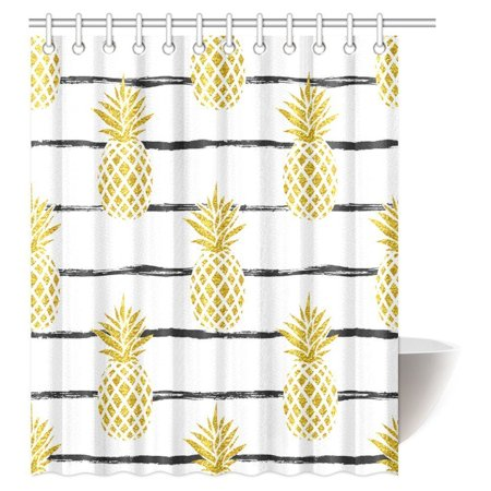 MYPOP Pineapple Decor Shower Curtain, Tropical Theme Vintage Stripe Style Pineapple Fruit Bathroom Shower Curtain 60 By 72 Inches Long ()
