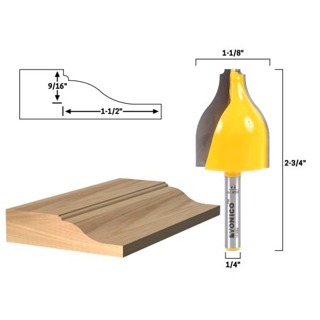 Ogee & Bead Vertical Raised Panel Router Bit - 1/4