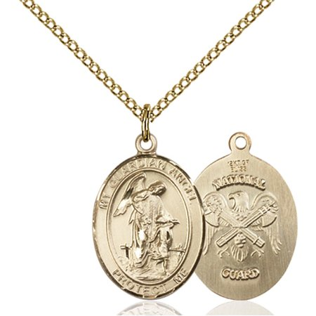 Gold Filled Guardian Angel / Nat'L Guard Pendant 3/4 x 1/2 inches with Gold Filled Lite Curb Chain