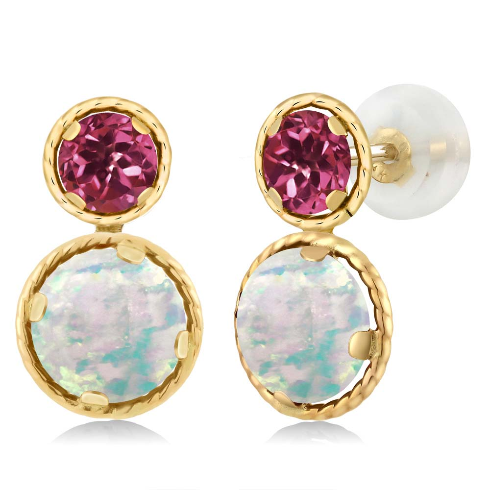 1.78 Ct Round White Simulated Opal Pink Tourmaline 14K Yellow Gold Earrings by