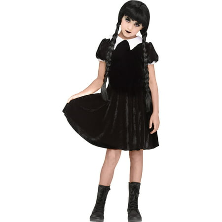 Girls Gothic Girl Wednesday Addams Costume - Wednesday Adams Family Costume