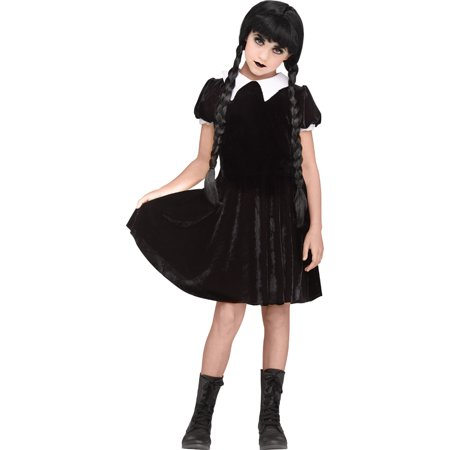 Girls Gothic Girl Wednesday Addams Costume (Gothic Females)