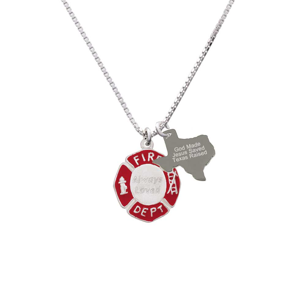 Delight Always Loved Fire Department Shield - Engraved Texas Raised Necklace