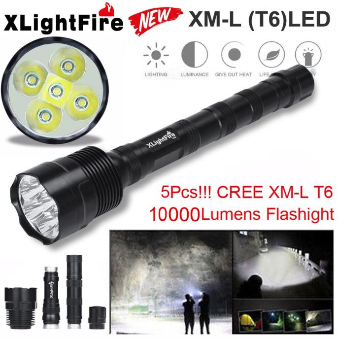 Tactical 10000 Lumen 5 x XML T6 LED Flashlight Torch Ligh...