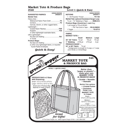 Market Tote & Produce Bag Sewing Pattern