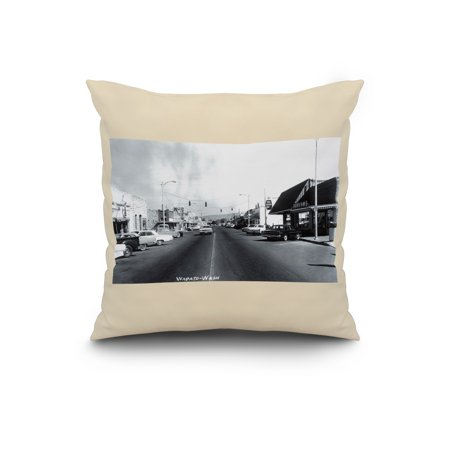 Wapato Washington View of a City Street 20x20 Spun Polyester Pillow Wh