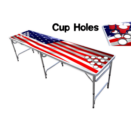 8-Foot Professional Beer Pong Table w/ Cup Holes - America - Beer Pong Kit