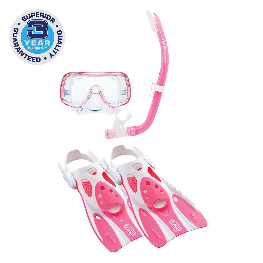 TUSA Sport Youth Mini-Kleio Hyperdry Mask, Snorkel, & Fin Travel Set by Tabata USA, Inc.