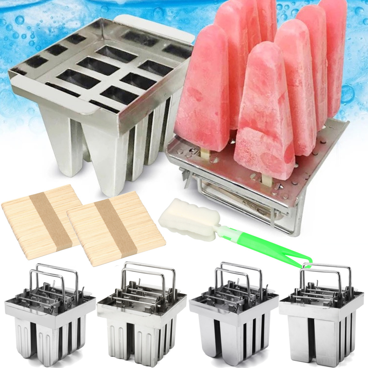 8Pcs Stainless Steel Molds Mold Ice Pop Lolly Popsicle Ice Cream Stick Holder