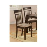 East West EWCDC-CAP-C Capri slat back Chair with Upholstered Seat, Cappuccino - Pack of 2