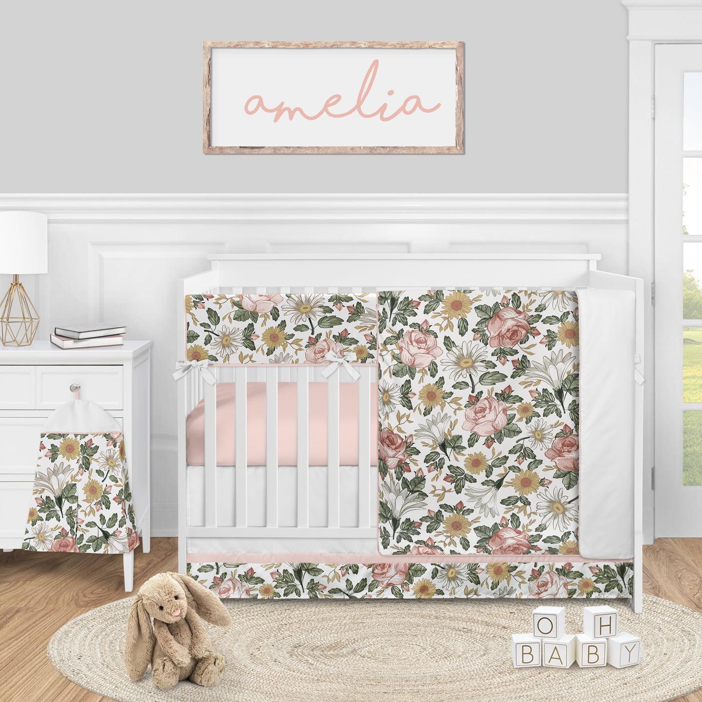Sweet Jojo Designs White Floral Rose Girl Baby Nursery Crib Bed Skirt Dust Ruffle Solid Flower Luxurious Elegant Princess Vintage Boho Shabby Chic Luxury Glam High End Roses