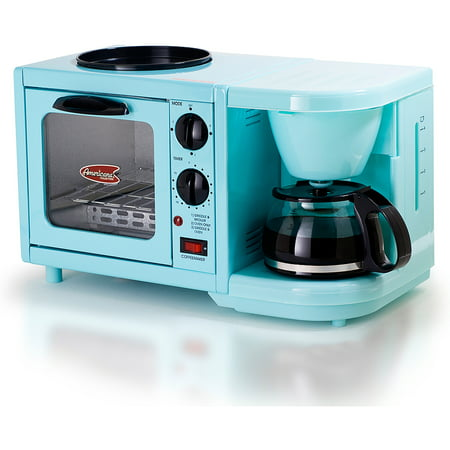 Americana by Elite EBK-200BL 3-in-1 Mini Breakfast Shoppe, Coffee, Toaster Oven, Griddle, Mint Blue by