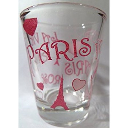 Paris Eiffel Tower and Hearts Collage Shot Glass](Glass Hearts)
